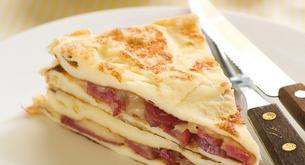 Receta para niños: lasaña de tortilla con jamón y queso